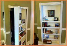 Hidden door bookcase diy secret rooms 50 ideas for 2019 Hidden Door Bookcase, Bookcase Plans, Bookshelves, Diy Sliding Barn Door, Diy Barn Door, Diy Door, Single Patio Door, Closet Door Makeover, Hidden Rooms