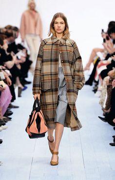 Chloe Blanket wool coat Jacquard silk blouse Leather skirt