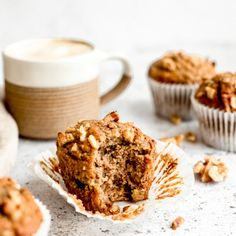 Healthy Banana Muffins, Healthy Carrot Cakes, Healthy Muffin Recipes, Vegan Banana Bread, Healthy Snacks, Banana Recipes, Healthy Nutrition, Healthy Eating, Healthy Breads