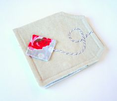 Tea Bag Wallet Linen Roses Mothers Day Gift Idea by andreacreates