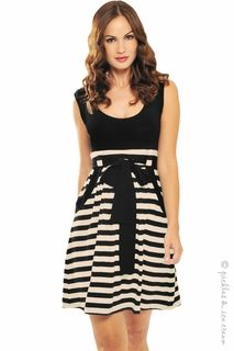Olian Maternity Cream & Black Stripe Grace Dress-i don't know how this is a maternity dress, but it's really cute