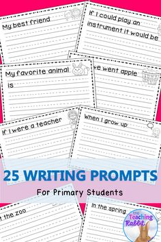 These 25 writing prompts for kids are great for first grade! They can help students get started with writing about different topics. Each page uses primary lines and includes a picture.