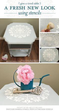 Cutting Edge Stencils shares blue and white DIY stenciled table makeover using the Gratitude Mandala Stencil. http://www.cuttingedgestencils.com/gratitude-mandala-stencil-yoga-designs.html