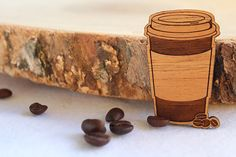 Wood laser cut brooch - takeaway coffee latte cup and coffee beans, by Sconnie & Jam, via Etsy