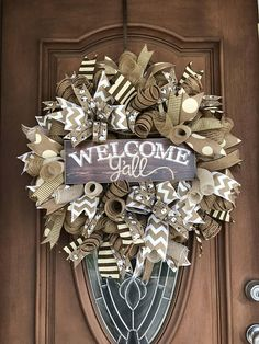 Welcome Yall Wreath Farmhouse Wreath Burlap Wreath Welcome.  For other wreaths https://www.etsy.com/shop/TraytoriasCloset