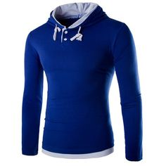 Fashion Slimming Hooded Color Block Splicing Long Sleeve Polyester T-Shirt For Men