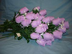 42 Silk Flowers Lavender Roses Baby's Breath 7 Buds Each Bush Dew Drops   eBay