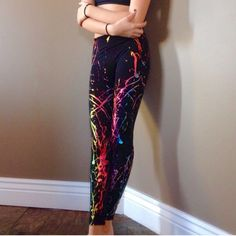 ⚡Sale⚡️Metallic Graffiti Yoga Pants⚡️ XS/S or M/L 92% nylon 8% spandex. Made in the USA. Shiny spandex material for a slim fit. So cute!!! 2 available. Price is firm. sizes are XS/S and M/L. Heard they run a little small. Electric Yoga Pants Leggings