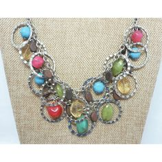 Multi Color Beaded Bib Necklace Multi Silver Tone Chains Wood Beads,... ($22) ❤ liked on Polyvore featuring jewelry, necklaces, turquoise bib necklace, wooden bead necklace, pink bead necklace, vintage necklaces and green bib necklace
