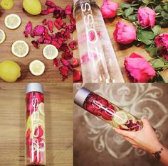 Recipe: Lemon + Ecuadorian Rose Petals Photo and Recipe by: H. Infused Water Recipes, Fruit Infused Water, Healthy Detox, Healthy Drinks, Voss Water, Fruit Combinations, Clear Skin Diet, Detox Waters, Lemon Water