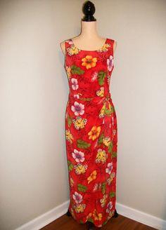 Hawaiian Dress Luau Dress Red Floral Dress by MintJulepShoppe