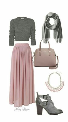 Long pink maxi skirt with gray sweater and gray booties Jupe longue rose longue avec pull gris et bottines grises sweaters Pink Outfits, Mode Outfits, Classy Outfits, Chic Outfits, Fall Outfits, Fashion Outfits, Womens Fashion, Fashion Trends, Hijab Fashion
