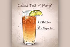 Cocktail Dark 'N' Stormy by Netkoff on Creative Market