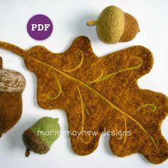 PDF-PATTERN. A Knit & Felt Wool Acorn and Oak von woollysomething