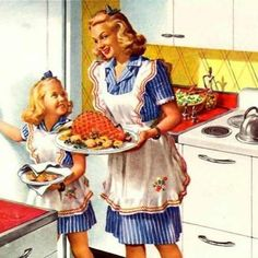 Vintage Illustrations Helping Mommy with Sunday dinner - love the matching outfits! - Detail Of General Electric Ranges Speed Cooking 1945 - Mad Men Art: The Vintage Advertisement Art Collection Vintage Advertisements, Vintage Ads, Vintage Images, Vintage Prints, Vintage Posters, Estilo Pin Up, Vintage Housewife, Aprons Vintage, Up Girl