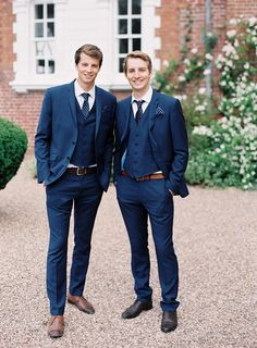 Navy Three piece Groomsmen Suits with Polka Dot Ties | Dakota from Enzoani wedding dress | Iscoyd Park wedding Venue | classic Wedding | Image by Victoria Phipps Photography | http://www.rockmywedding.co.uk/caroline-nick/