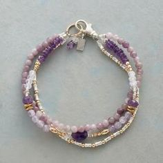 beaded jewelry TWILIGHT GARDEN BRACELET -- Shading from deep purple to delicate lilac, amethyst and lavender quartz contrast with sterling silver and gold filled beads. Handcrafted in USA exclusively for Sundance. Pandora Jewelry, Wire Jewelry, Body Jewelry, Jewelry Crafts, Jewelry Ideas, Jewlery, Jewelry Accessories, Silver Jewelry, Silver Ring