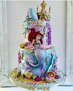 Little Mermaid cake # Little Mermaid Birthday Cake, Little Mermaid Cakes, Little Mermaid Parties, Birthday Cake Girls, The Little Mermaid, Sirenita Cake, Ariel Cake, Fantasy Cake, Disney Princess Birthday