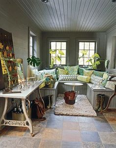 Love the planked ceiling for sunroom. Great design idea for a rectangle room