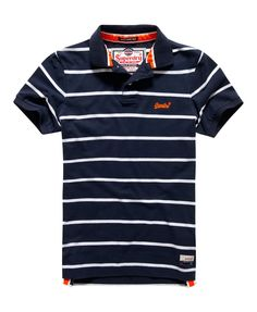 Mens - Miami Stripe Polo Shirt in Navy/optic Mens Polo T Shirts, Golf T Shirts, Superdry Style, Polo Design, Mens Fashion Blazer, Boys Summer Outfits, Night Suit, Camisa Polo, Striped Polo Shirt