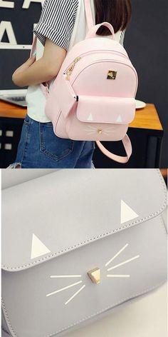 cute backpack ! Cute Cartoon Backpack Casual Leather Cute Rucksack Shoulder School Bag Bags #cute #backpack #rucksack #school #bag #kitten #cat