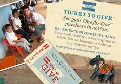 Toms 'One for One' ~ Buy a pair / they donate a pair