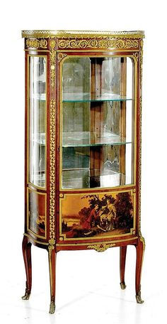 """<b>Ormolu-mounted Vernis Martin and mahogany vitrine, stamp of Francois Linke</b></i></u> late 19th century <br  /> shaped top with gilded gallery above conforming cabinet with elaborate bronze mounts, glazed door and sides over Vernis Martin panels resting on short cabriole legs terminating with sabots. <br  /> H57 7/8"""" W24 3/4"""" D14 3/4""""  <br  />  <br  /> Provenance: Property deaccessioned from the Centennial Museum at the University of Texas at El Paso to benefit the Museum Collections ..."""