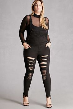 FOREVER 21+ Plus Size Raw-Cutout Overalls