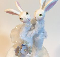Rabbit figures  bunny love  cake topper  white by peonycabinstudio