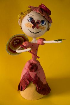 Tulipa's Fancies, OOAK Handmade Art Doll, Pink Fairy with Parasol, Papier Mache Sculpture, Unique Original 3D Artwork, FREE SHIPPING