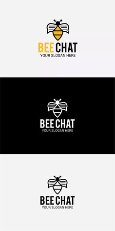 Bee Chat Logo Template AI, EPS