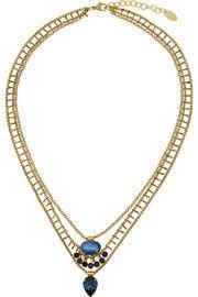 Elizabeth ColeGold-plated, Swarovski crystal and opal necklace