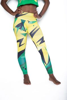 Kingston Jamaica Leggings by Cooyah Full-length eco-friendly and hand printed leggings. Soft and comfy, they're perfect for layering under oversized shirts and sweatshirts, or to wear on your most busiest days.  #reggae #yoga