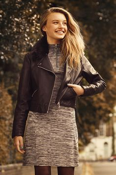 A wardrobe essential - a leather-look biker jacket makes everything (including the cutest of dresses) just that little bit rock 'n' roll. #newlook #fashion