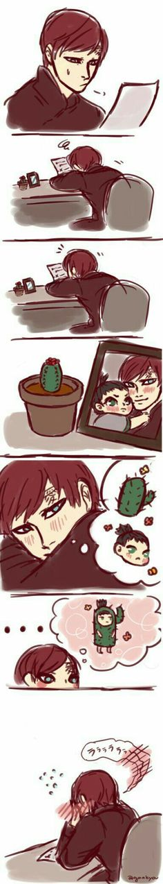 Gaara, paperwork, paper, working, funny, thinking, blushing, Shikadai, cactus, suit, outfit, text, comic; Naruto