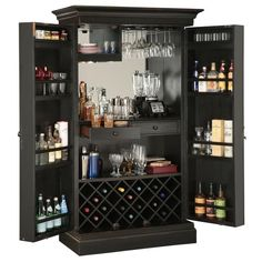 The Howard Miller Sambuca Wine & Bar Cabinet 695-142 is a hide-a-home bar that's spacious and functional with superb craftsmanship. Available at Home Bars USA.