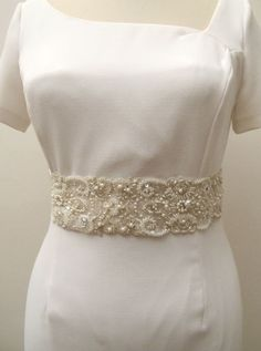 Beaded Bridal Wedding Sash Belt 7 cm with pearls crystal beads ivory  Ready to Ship on Etsy, $50.00