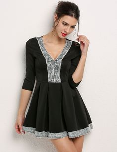 Black Womens V Neck 3/4 Sleeve Floral Lace Splicing Skater Ladies Pleated Mini Party Casual Dresses dresslink.com