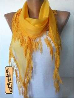 Yellow scarf women scarves  guipure gift Ideas For by MebaDesign