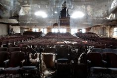 destroyed movie theater upstate new york Abandoned Buildings, Abandoned Places, Palaces, Movie Theater Chairs, Le Jolie, Upstate New York, City That Never Sleeps, Amazing Spaces, Jolie Photo