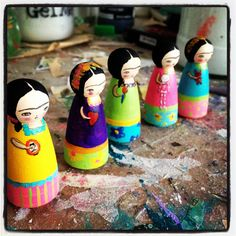 FRIDA Mini Peg Dolls by DanitaArt.