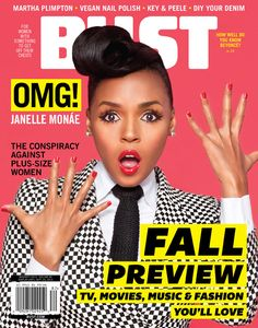 Janelle Monáe on the cover of BUST Magazine's Aug/Sept 2013 issue.