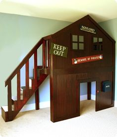 DIY Boy Fort Bed - This would be awesome with a slide too Bunk Beds With Stairs, Kids Bunk Beds, Home Bedroom, Kids Bedroom, Bedrooms, Bedroom Furniture, Furniture Design, Build A Loft Bed, House Beds