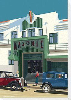 "Art Deco Napier Masonic Hotel"" Canvas Prints by contourcreative ..."