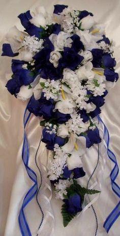 23 Pieces Royal Blue and White Cascade Bridal Bouquet Wedding Flower Set - Calla #WeddingBridalSetBouquetsBoutonniereCorsage