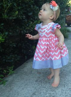 Baby Toddler Chevron Coral Pink and Grey by juliafayedavison, $44.00