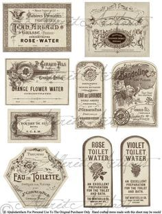 These labels are in the french perfume peddler style. The labels used in the example pictures are made with some of my other perfume label Images Vintage, French Vintage, Printable Labels, Free Printables, Labels Free, Image Printable, Etiquette Vintage, Brochure Paper, Vintage Labels