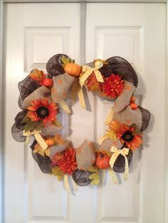 Fall Wreath. Made with mesh and burlap