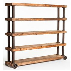 "This rustic wood shelf is simply awesome! Thick pine wood planks, and a frame of over-sized iron pipes. Finely detailed down to the aged-iron wheels. Part of Marino collection. Dimensions: 95""W 18""D 81""H Product weight: 330lbs. Color: Natural. Product requires assembly. Made in China. We are offering 1 year limited warranty (covered for any manufacturer's defect) Construction: Pine wood; Frame: Iron; We understand how important your home is and how decorating y..."