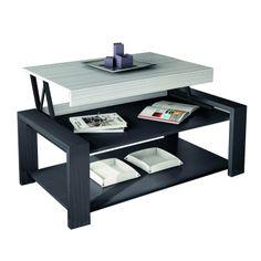 Table basse avec plateau relevable et caisson de rangement for Table basse ceruse gris